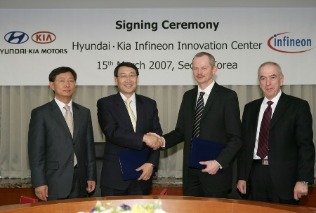 (from the left)Woong-Chul YANG, Vice President of Hyundai-Kia Electrics Development Center, Dr. Hyun-Soon LEE, President of Hyundai-Kia R&D Division, Peter BAUER, Member of the Management Board, Executive Vice President, Head of Automotive, Industrial and Multitasked business group at Infineon, Claus GEISLER, Senior Vice President and General Manager, Automotive Power, Infineon <br><br>(von links) Woong-Chul YANG, Vice President Hyundai-Kia Electrics Development Center, Dr. Hyun-Soon LEE, Technologie-Vorstand und Leiter der Entwicklungsabteilung bei Hyundai-Kia, Peter BAUER, Mitglied des Vorstands und Leiter des Geschäftsbereichs Automotive, Industrial and Multimarket bei Infineon Technologies, Claus GEISLER, Senior Vice President und General Manager, Automotive Power, Infineon Technologies AG