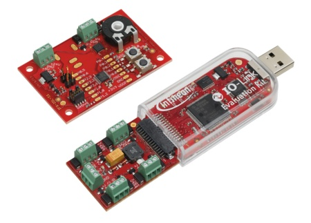 Infineon's USB evaluation kit supports the IO-Link V1.1 standard to easily evaluate an IO-Link master and device configuration.