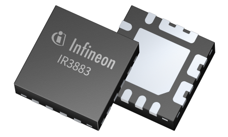 The IR3883 provides up to 3 A continuous current from 4.5 V to 14 V in a small 3 mm x 3 mm PQFN package, it can save up to five components and facilitates the layout for very small PCB size of less than 100 mm².