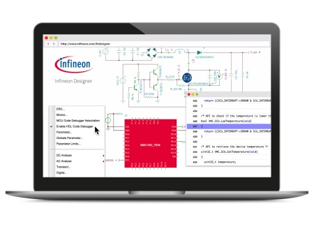Infineon Designer is the first online prototyping engine combining analog and digital simulation functionalities in an internet application. It features a wealth of application circuits in the domain of Industrial Power, Lighting, Motor Control and Mobile/RF frontend design.
