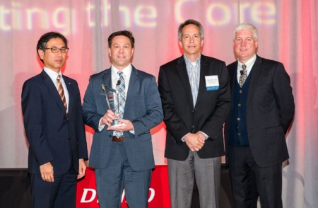 Kenichiro Ito, Chairman and CEO DENSO International America Inc.; Shawn Slusser, VP, Automotive division, Infineon Americas; Mike Koeske, Senior Sales Engineer, Infineon Americas; Mike Winkler, VP DENSO North America Purchasing Group (from left)