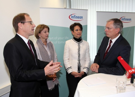(fleft to right) Reinhard Ploss, CEO Infineon Technologies AG / Gaby Schaunig, Deputy Governor of Carinthia / Sabine Herlitschka, CEO Infineon Technologies Austria AG / Alois Stöger, Federal Minister for Traffic, Innovation and Technology