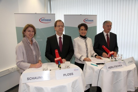 (fleft to right) Gaby Schaunig, Deputy Governor of Carinthia / Reinhard Ploss, CEO Infineon Technologies AG / Sabine Herlitschka, CEO Infineon Technologies Austria AG / Alois Stöger, Federal Minister for Traffic, Innovation and Technology
