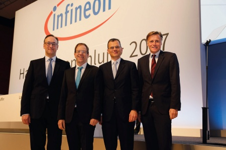 The Executive Board of Infineon Technologies AG at the Annual General Meeting 2017: Dr. Helmut Gassel, Dr. Reinhard Ploss, Dominik Asam, Jochen Hanebeck (from left to right).