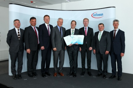 (left to right) Dr. W. van Puymbroeck, European Commission, Head of DG CONNECT / Bert De Colvenaer, Executive Director, ECSEL Joint Undertaking / Helmut Warnecke, Managing Director, Infineon Technologies Dresden / Stanislaw Tillich, Prime Minister Saxony / Dr. Reinhard Ploss, Chief Executive Officer, Infineon Technologies AG / Prof. Dr. Wolf-Dieter Lukas, Department Head, Federal Ministry of Education and Research / Mathias Kamolz, Managing Director, Infineon Technologies Dresden / Oliver Pyper, Project Leader IoSense