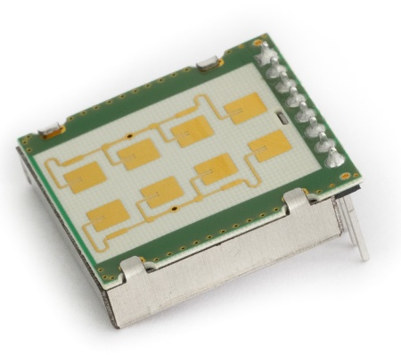 The module K-LD2 of RFbeam uses the 24 GHz transceiver radar chip BGT24LTR11 from Infineon. It is an easy-to-use 2 × 4 patch Doppler module with an asymmetrical beam for low-cost short-distance applications.