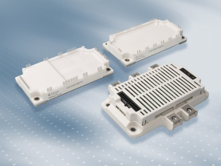 The MIPAQ (Modules Integrating Power, Application and Quality) family today includes three products that enable highly efficient power inverter designs to be used in Uninterruptible Power Supply (UPS), industrial drives, windmills, solar power plants and air conditioning systems. The module MIPAQ(tm) base (top right) features three specifically designed shunts for current measurement while the MIPAQ(tm) sense (top left) module offers an additional current measurement feature, and the MIPAQ(tm) serve (bottom) module includes adapted driver electronics.