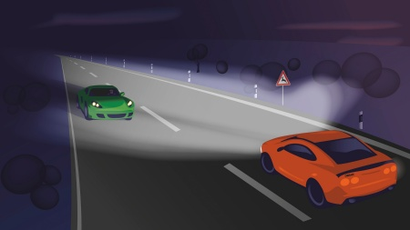Thanks to thousands of individually controllable pixels, the new class of smart adaptive headlights can prevent glare for other road users while the other surroundings remain perfectly illuminated. (picture: OSRAM Licht AG)