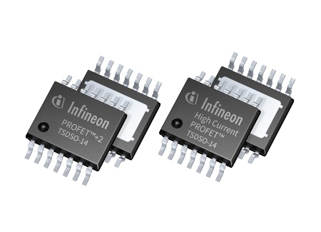 The high-side switch families PROFET™+2 and High Current PROFET™ are pin-compatible and share the main feature set. Their TSDSO-14 package footprint is 50 percent smaller than the DPAK package and 80 percent smaller than D²PAK.
