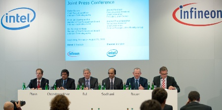"Joint Press Conference of Infineon and Intel, August 30, 2010: ""Infineon Sells Wireless Solutions business to Intel""(from left to right): Dr. Reinhard Ploss, Member of the Management Board, responsible for Operations, and Labor Director at Infineon Technologies AG / Anand Chandrasekher, Senior Vice President and General Manager, Ultra Mobility Group, Intel Corporation / Prof. Dr. Hermann Eul, Member of the Management Board, responsible for Sales, Marketing, Technology and R&D at Infineon Technologies AG / Arvind Sodhani, Executive Vice President of Intel Corporation and President of Intel Capital / Peter Bauer, CEO of Infineon Technologies AG / Ralph Driever, Corporate Vice President Communications, Infineon Technologies AG"