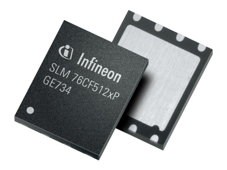 The SLM 76CF5120P, here in a VQFN package, is a member of the Infineon SLM 76 family of security microcontrollers for machine-to-machine (M2M) applications, such as car telematics, utility monitoring, or remote stocks level checks of vending machines. It is capable of operating in an unusually broad temperature range from -40 °C to +105 °C, retains data for at least ten years and features at least 500,000 write-and-erase operations.