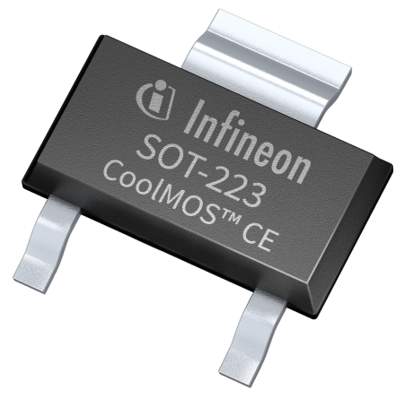 The new SOT-223 package for CoolMOS offers a cost effective alternative to DPAK as well as space savings in some designs with low power dissipation. It can be used as a drop-in replacement for DPAK and targets customer designs in LED lighting and mobile charger applications.