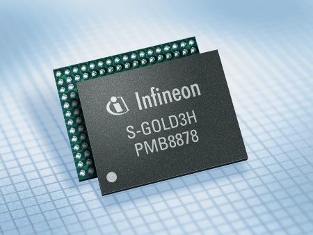 English<br><br>S-GOLD3H: Infineon's baseband processor supports HSDPA (High-Speed Downlink Packet Access) data rates of up to 7.2 megabits per second (Mbit/s) for the mid-range multimedia phone segment.<br><br>Deutsch<br><br>S-GOLD3H: Infineons Basisbandprozessor S-GOLD3H bietet HSDPA- (High-Speed Downlink Packet Access) Datenraten von bis zu 7,2 Megabit pro Sekunde (Mbit/s) für Multimedia-Handys im mittleren Marktsegment.