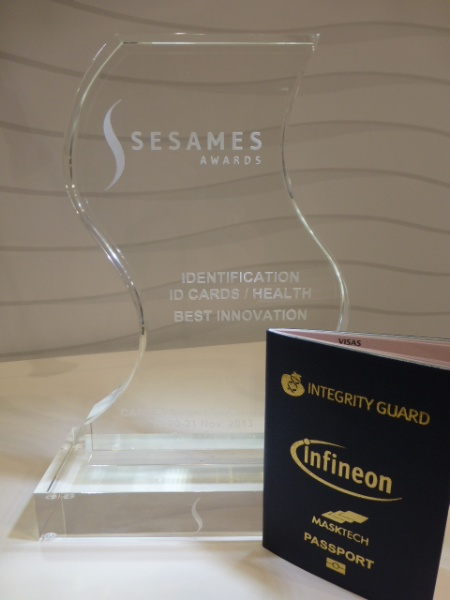 Infineon was awarded the Sesames 2013 for the world's fastest ePassport which implements the state-of-the-art SAC (Supplemental Access Control) mechanism required in next generation ePassports.
