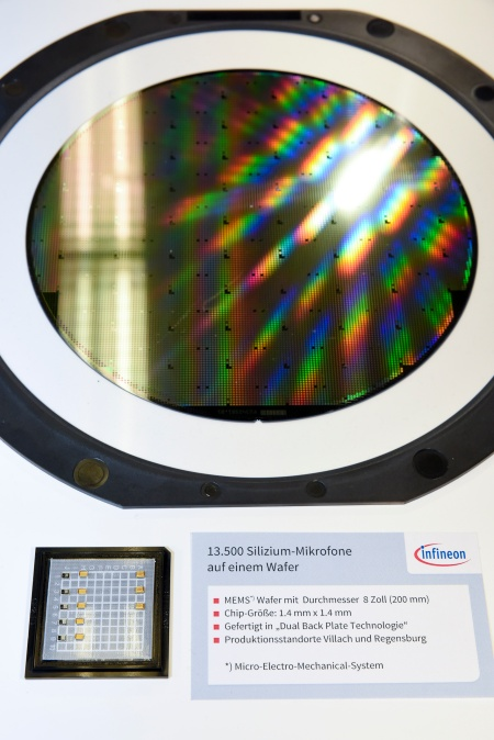 The picture shows a wafer with MEMS-sensors for silicon microphones. High quality microphones significantly improve voice quality of mobile devices.