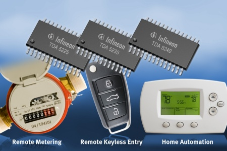 Infineon's TDA5240, TDA5235 undTDA5225 wireless control receivers offer highest sensitivity, low power consumption and flexible multi-protocol support for automotive (RKE, TPMS), industrial and consumer applications (remote metering, cordless alarm systems, home automation).