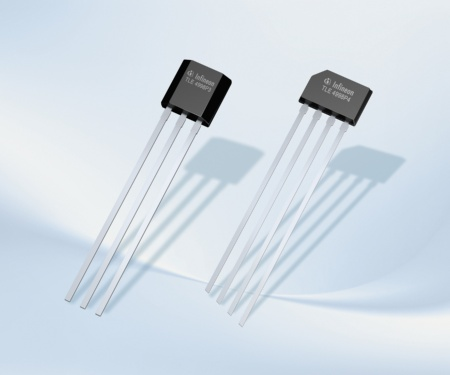 The programmable linear Hall sensors TLE4997 and TLE4998 were designed for use in automotive and industrial applications requiring highly accurate rotation and position detection. They operate within a very broad temperature range of -40 °C to 150 °C. The advanced temperature compensation features implemented in the TLE4997 are further supplemented by stress compensation features in the TLE4998. The picture shows the TLE4998P with PWM in package PG-SSO-3 (left) und PG-SSO-4.