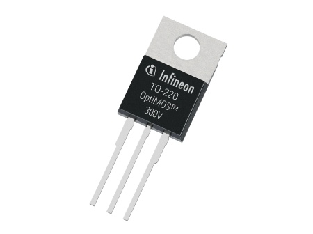 Infineon's OptiMOS 300 V cuts energy losses by 50 percent in hard switching applications such as AC/DC converters. This allows for higher switching frequencies and, consequently, passive component and solution size reduction.