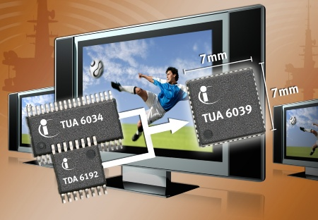 Infineon launches single chip TV Tuner IC with integrated RF and IF functions that offers lower power consumption, half the footprint area with a superior cost position<br><br>Infineon integriert RF- und IF-Funktionen in Single-Chip TV-Tuner-IC: Geringe Leistungsaufnahme, halb so große Platinenfläche, überragendes Kosten/ Nutzen-Verhältnis