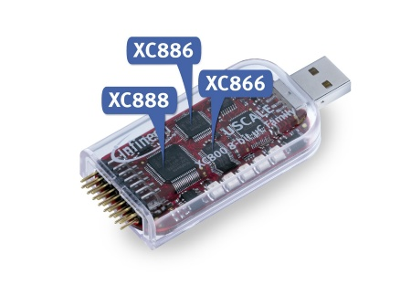 The USCALE kit offers access to the key features and to the hardware signals of each of the three 8-bit microcontrollers for extensive benchmarking and evaluation.