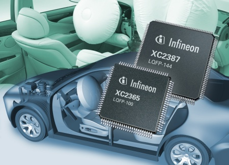 Specifically designed for use in vehicle safety applications, the microcontroller family XC2300 of Infineon provides 32-bit performance and a rich peripheral feature. The XC2300 family is specifically targeted for airbag systems and electronic power-steering applications.