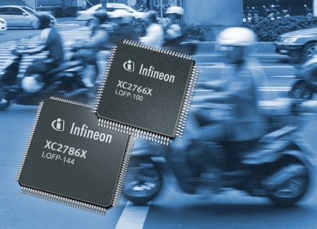 Infineon's XC2700 family of microcontrollers with 32-bit performance allow system makers to build cost-effective electronic engine control in motorcycles meeting upcoming emission standards; for example in China and India, the world's largest motorcycle markets today.