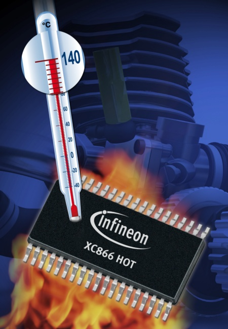Infineon´s XC866 HOT 8-bit microcontroller with extended temperature range up to +140°C and 100,000 read/write cycles<br><br>Infineons Xc866 Hot 8 bit - Flash-microkontroller bieten Temperaturbereich bis zu +140°C bei Lese-/Schreibzyklen von bis zu 100.000