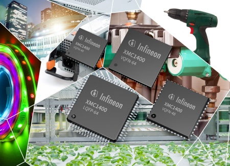 The XMC1400 microcontrollers offer greater control performance and additional connectivity than the earlier XMC1000 products. Target applications are actuators in industrial automation, digital power conversion for the control of LED lamps and multiphase electric motors, and the electronic control of small combustion engines such as those in lawnmowers, chainsaws, or generators.