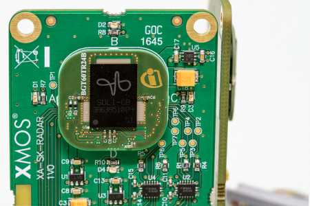 The building block makes use of Infineon's 60 GHz 2Tx/4Rx radar IC with accompanying antenna and the 70dB SNR microphone combined with an audio processor from XMOS.