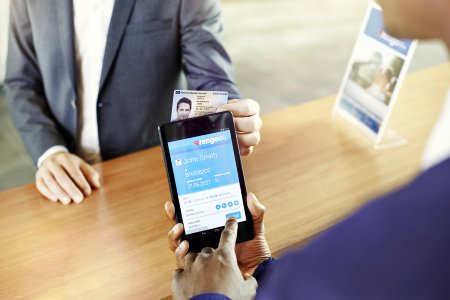 Infineon demonstrates a mobile ID solution for car rental companies. A smartphone and a few taps in an app is all that is needed to verify the user's identity and driver's license, assign the right rental car, and open it per smartphone.