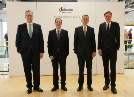 The Executive Board of Infineon Technologies AG at the Annual General Meeting 2018: Dr. Helmut Gassel, Dr. Reinhard Ploss, Dominik Asam, Jochen Hanebeck (from left to right).