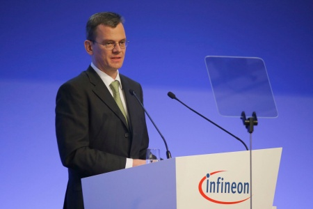 Dominik Asam, CFO of Infineon Technologies AG, during his speech at the Annual General Meeting 2018.