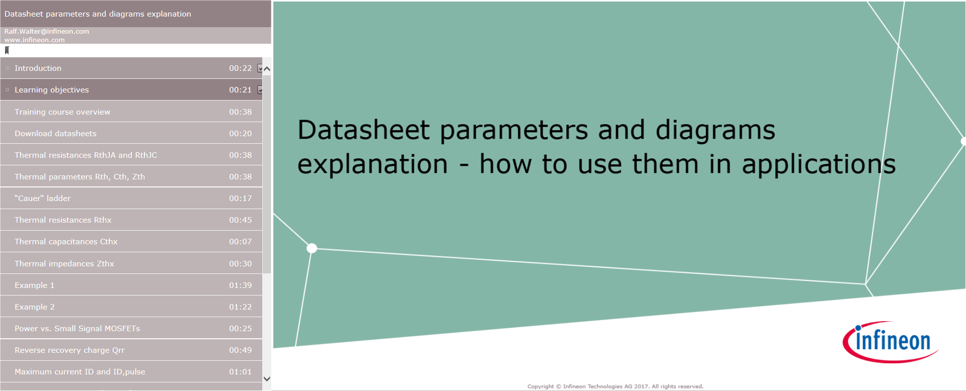 eLearning Datasheet explanation