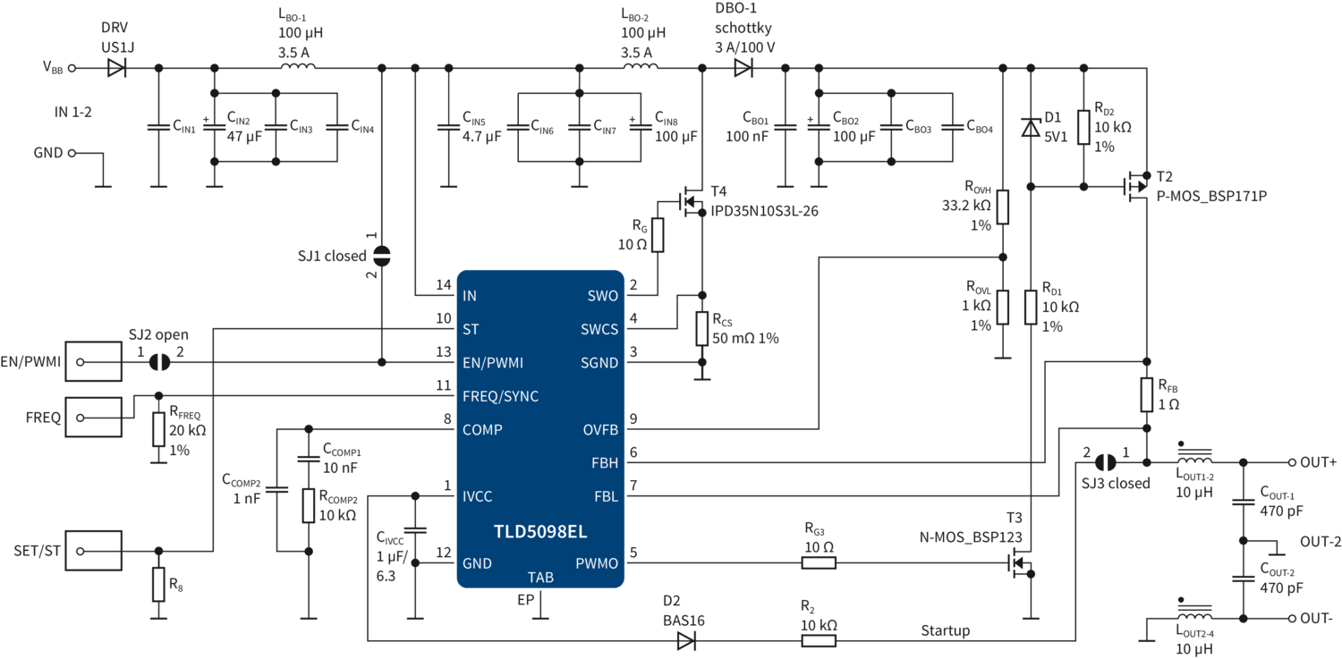 Litix Power Infineon Technologies Ups Schematic Circuit Diagram Tld5098el In Boost Mode With Short To Ground Protectioneps