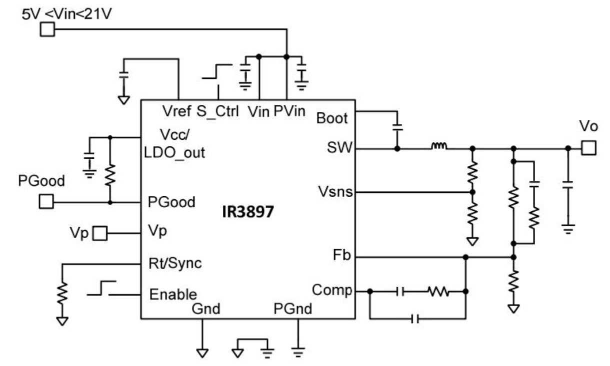 Ir3897m Infineon Technologies Supply 5v Vcc And 12v To 30v Input Led Driver Application Circuits Prevnext