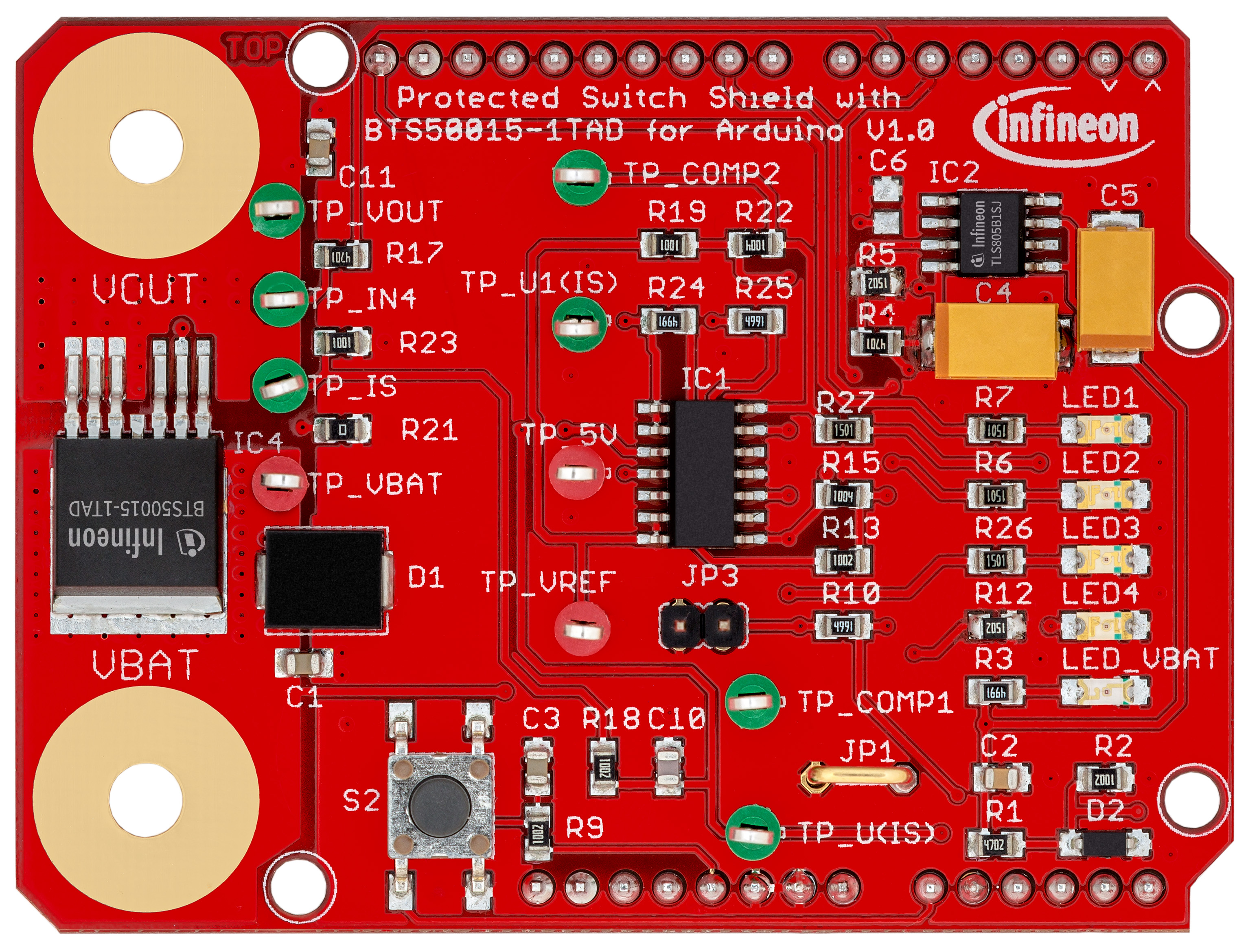 Protected_Switch_Shield_with_BTS50015-1TAD_for_Arduino_top view_plain