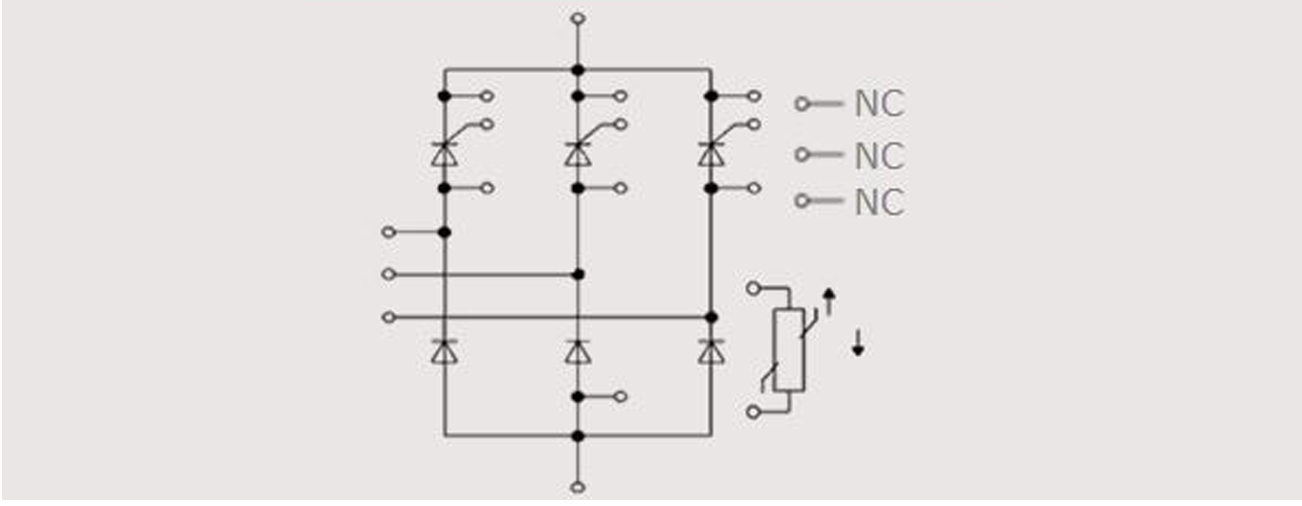 Half-controlled 3-phase bridge with NTC